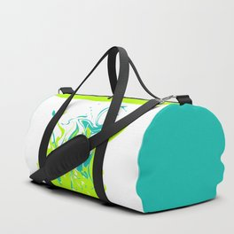 Green with turquoise blue abstraction on white background . Duffle Bag