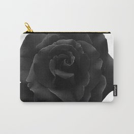 Black Rose on White - Single Large High Resolution Carry-All Pouch