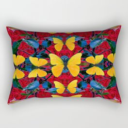 RED-WHITE ROSES & YELLOW BUTTERFLIES GARDEN Rectangular Pillow