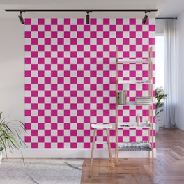 Pink Checkerboard Pattern Wall Mural