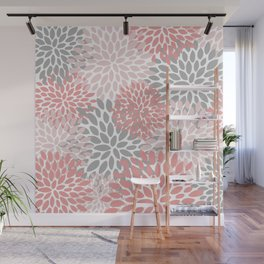 Floral Pattern, Coral Pink and Gray Wall Mural
