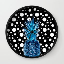 BLUE PINAPPLE AND POKA DOTS Wall Clock