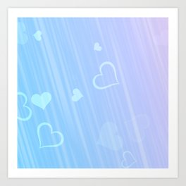 blue pink hearts for like Art Print