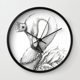 Flamingo Portrait Whimsical Flamingos in Necklace Wall Clock