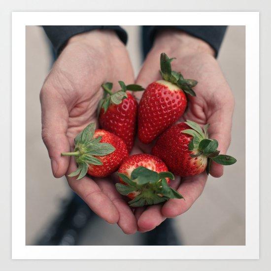 Strawberry Hands Art Print