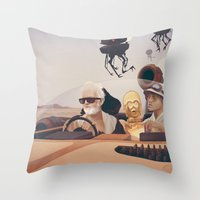 fear and loathing Throw Pillows featuring Fear and Loathing on Tatooine by Anton Marrast