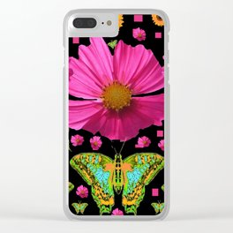 FUCHSIA PINK COSMO FLORALS GREEN MOTHS Clear iPhone Case