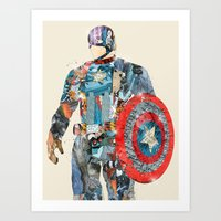 superheros Art Prints featuring modern capt america by bri.buckley