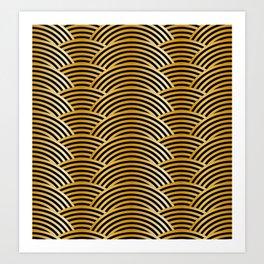 Gold Tiger Waves - Black Yellow Brown Abstract Art Print
