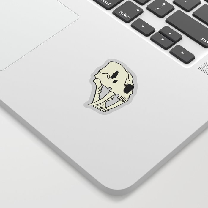 Rose Tiger Skull White Sticker