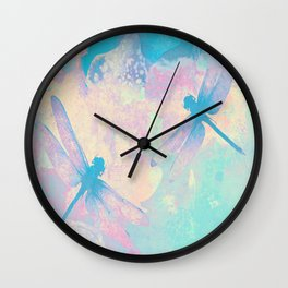 Blue Painting Dragonflies Wall Clock