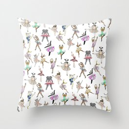 Animal Ballerinas Throw Pillow