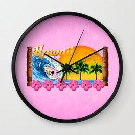 Pink Hawaiian Surfing Wall Clock