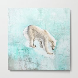 Polar bear on thin ice Metal Print