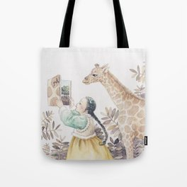 Giraffe and girl Tote Bag