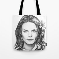 house md Tote Bags featuring Dr. Cameron-House MD-Jennifer Morrison-Portrait by Olechka