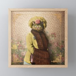 Lady Vanderkat with Roses Framed Mini Art Print