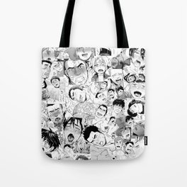 Ahegao Hentai Manga Guys Collage in B&W (Bara/Doujinshi) Tote Bag