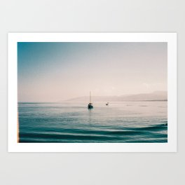 Boat on peacful calm water in Cyprus Art Print