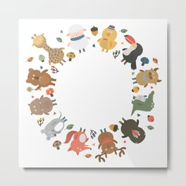 cute animal family Metal Print