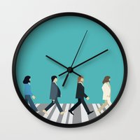 downton abbey Wall Clocks featuring The tiny Abbey Road by Victor Trovo Afonso