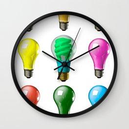Lightbulbs Of A Differnt Color Wall Clock