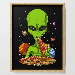 Alien Eating Pizza Serving Tray