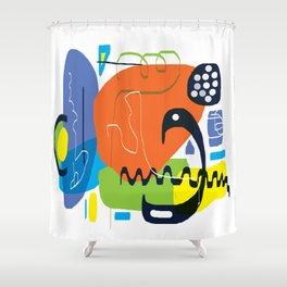 Funky Orange Composition Shower Curtain