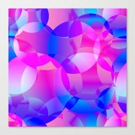 Violet and blue soap bubbles. Canvas Print
