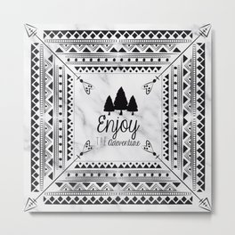 Black and White Arrows Boho Chic Tribal Aztec Pattern Forest Adventure Metal Print