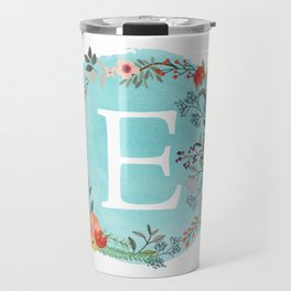 Personalized Monogram Initial Letter E Blue Watercolor Flower Wreath Artwork Travel Mug