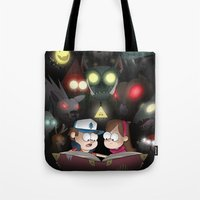 gravity falls Tote Bags featuring Gravity Falls - Monster Manual by Rebexorcist