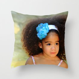 Cutie With Lots of Hair Throw Pillow