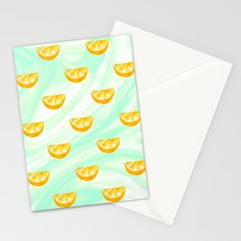 Summer watercolor oranges and marbleized design Stationery Cards