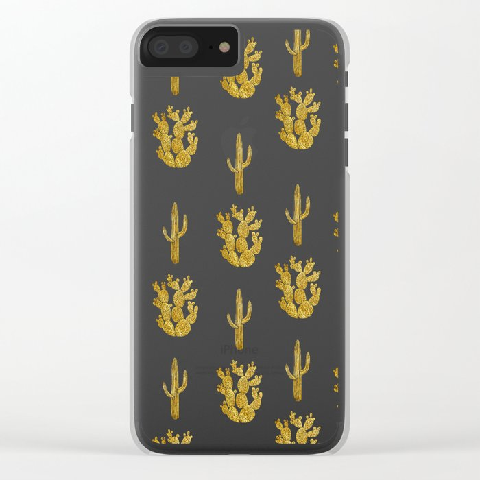 Gold Cactus Clear iPhone Case