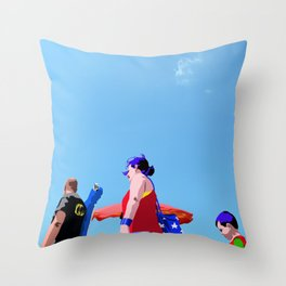 Super...on the beach Throw Pillow