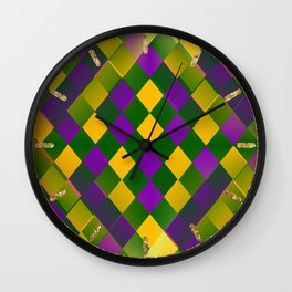Harlequin Mardi Gras pattern Wall Clock