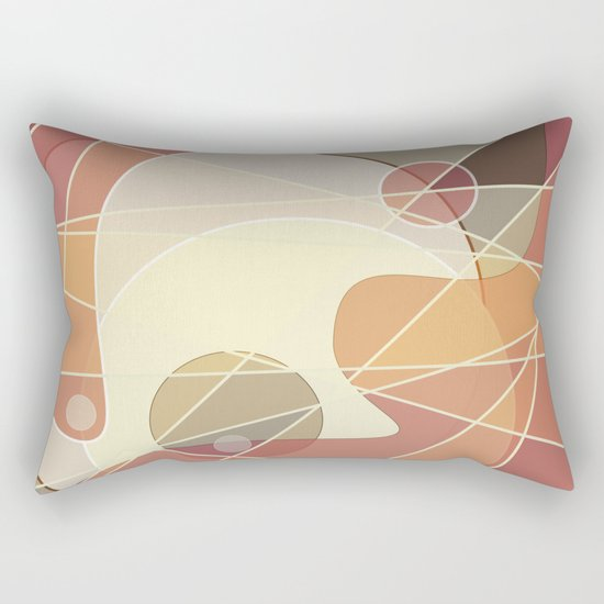 Abstract pattern in yellow and beige brown colours . Rectangular Pillow