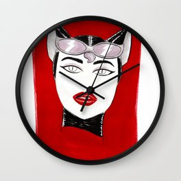 80's Fashion Catwoman Wall Clock