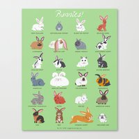 bunnies Canvas Prints featuring BUNNIES by Doggie Drawings