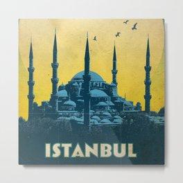 Retro travel poster — Istanbul Metal Print
