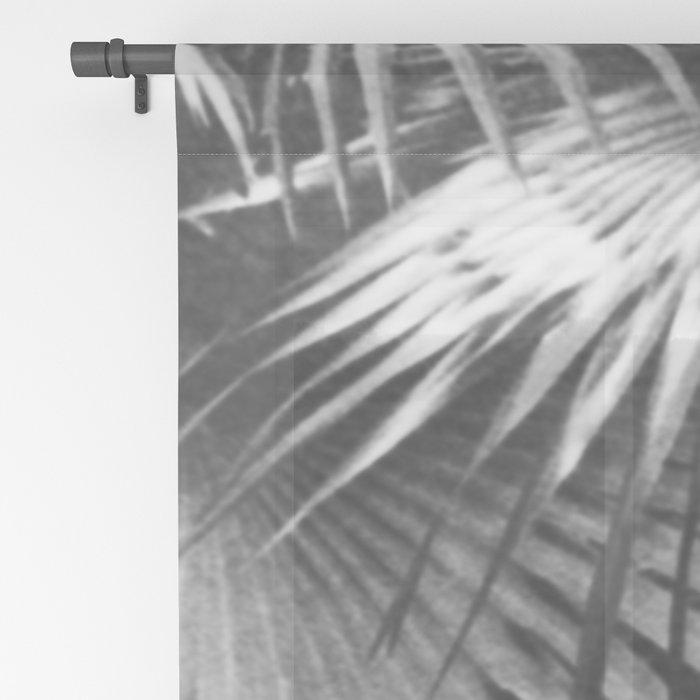 Tropical Botanic Jungle Garden Palm Leaf Black White Sheer Curtain