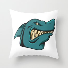 Shark Face Funny Funny Gift Throw Pillow
