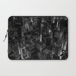 Night city glow B&W / 3D render of night time city lit from streets below in black and white Laptop Sleeve