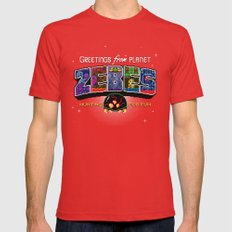 Greetings from Planet Zebes Red SMALL Mens Fitted Tee
