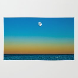 Moon Rising Over Chicago's North Shore Rug