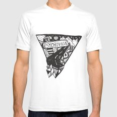 Psychoville black ink drawing MEDIUM White Mens Fitted Tee