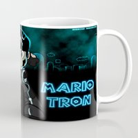 tron Mugs featuring Mario Tron by Rodrigo Marckezini