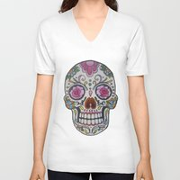mexican V-neck T-shirts featuring Mexican Skull by DΔZΞD.