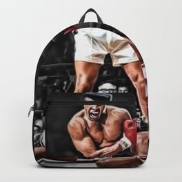 Mama Said I'm Gonna Knock You Out - Ali Knocks out Liston B&W over Color Painting Backpack